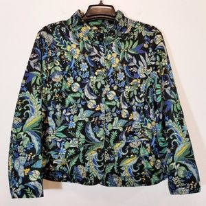 CHARTER CLUB Womens Lined Black Floral Jacket